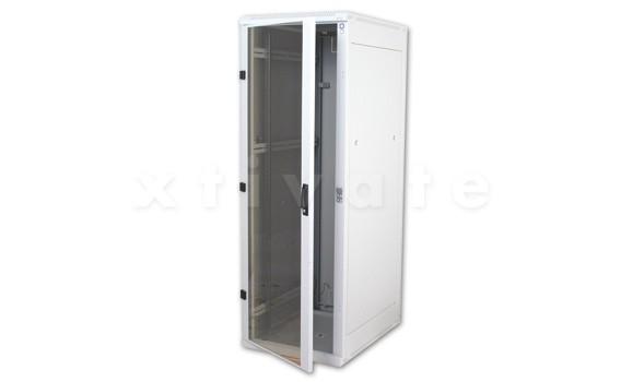 """Triton Delta RZ 19"""" Standschrank, zerlegbar, 22HE/600x600, Glastür (RZA-22-A66-CAX-A1)"""