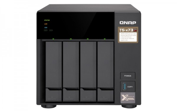 Qnap TS-473-64G 4-Bay 12TB Bundle mit 3x 4TB Red WD40EFAX