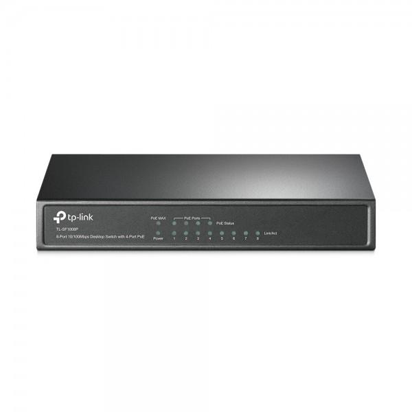 Switch Desktop 8-Port 10/ 100MBit, 4 Ports POE IEEE802.3af (max. 15,4W je Port)