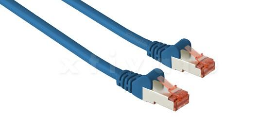Patchkabel, S-FTP Cat6a, 10GBit, doppelt geschirmt, PiMF, 2m, blau