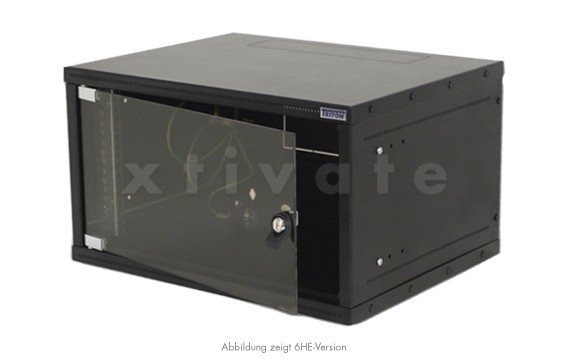 """Triton Delta X schwarz 19"""" Wandschrank einteilig 6HE/395mm, Glastür (RXA-06-AS4-BAX-A1)"""