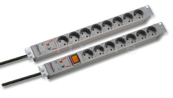 """BACHMANN 19"""" Steckdosenleiste 7-fach mit Überspannungsschutz, mit Schalter"""