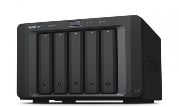 Synology DX517 5-Bay 40TB Bundle mit 4x 10TB Red Plus WD101EFBX