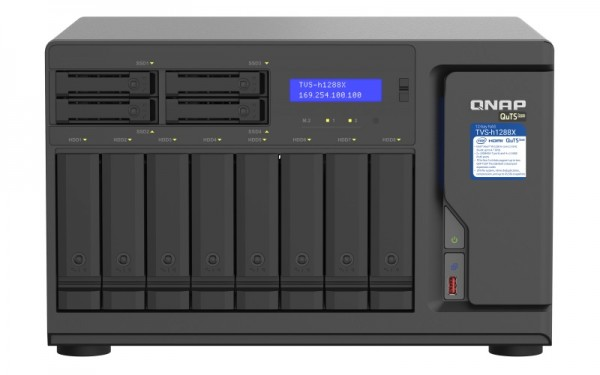 QNAP TVS-h1288X-W1250-128G 12-Bay 32TB Bundle mit 4x 8TB Gold WD8004FRYZ