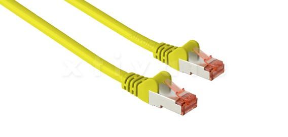 Patchkabel, S-FTP Cat6a, 10GBit, doppelt geschirmt, PiMF, 0,5m, gelb
