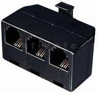 [Restposten] Adapter Western-Stecker 6/4 auf 3 x Western-Kupplung 6/4