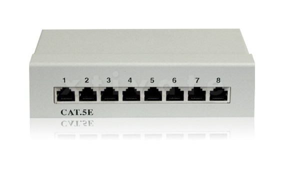 Patchpanel, Cat5e, 8 Ports, vollgeschirmt