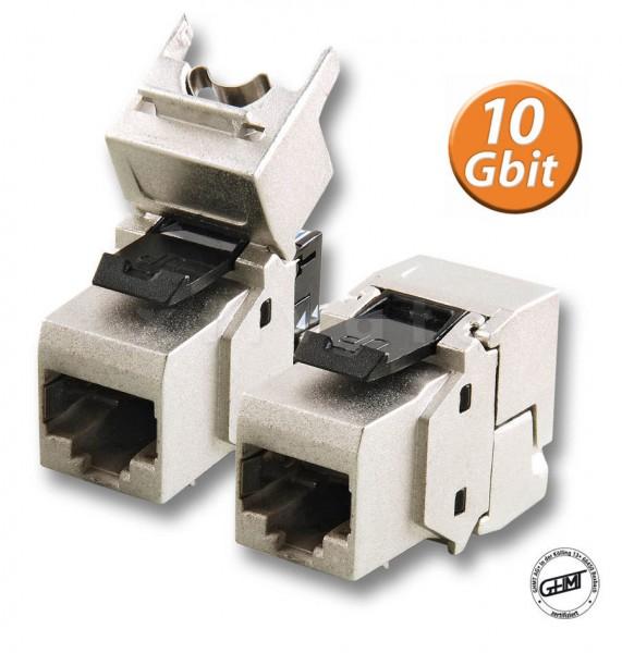 8 Stück Keystone Jack Cat6a Pro Serie, 10Gbit, geschirmt, tool less