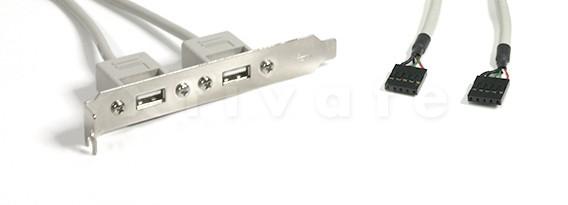USB Slotadapter mit 2 x USB-A Kupplungen, intern 2x 5pol