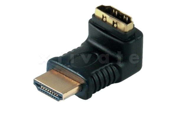Adapter, HDMI-Stecker auf HDMI-Kupplung, Winkelausführung, vergoldete Kontakte, Abgang nach oben, ve
