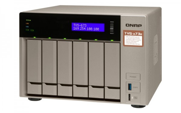Qnap TVS-673e-64G QNAP RAM 6-Bay 24TB Bundle mit 2x 12TB Red Plus WD120EFBX