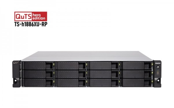 QNAP TS-h1886XU-RP-D1622-128G QNAP RAM 18-Bay 96TB Bundle mit 12x 8TB Gold WD8004FRYZ
