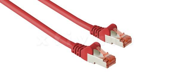 Patchkabel, S-FTP Cat6a, 10GBit, doppelt geschirmt, PiMF, 0,25m, rot