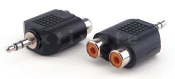 Adapter 2x Cinch Kupplung zu 3,5mm stereo Klinken Stecker