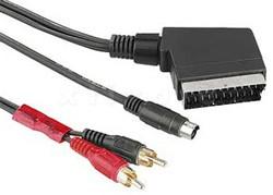 Videokabel 2m, SCART Stecker auf Hosiden + 2x Cinch Stecker